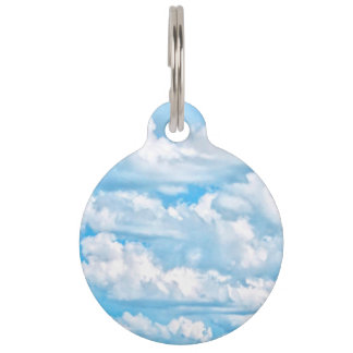 Happy Sunny Clouds Blue Background Pet Tag