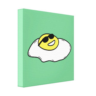 Happy Sunny Side Up Egg with Face - Sunglasses Canvas Print