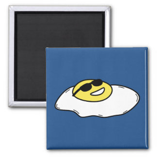 Happy Sunny Side Up Egg with Face - Sunglasses Magnet