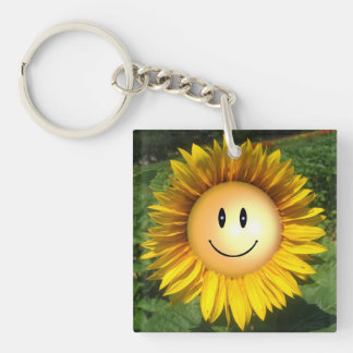 Happy Sunshine Flower Double-Sided Square Acrylic Keychain