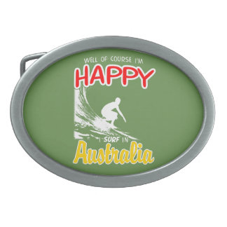 Happy Surfer AUSTRALIA (Wht) Belt Buckle