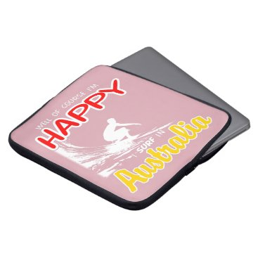 Beach Themed Happy Surfer AUSTRALIA (Wht) Computer Sleeve