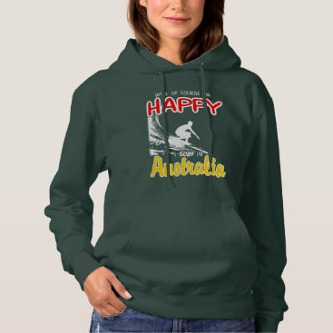 Beach Themed Happy Surfer AUSTRALIA (Wht) Hoodie