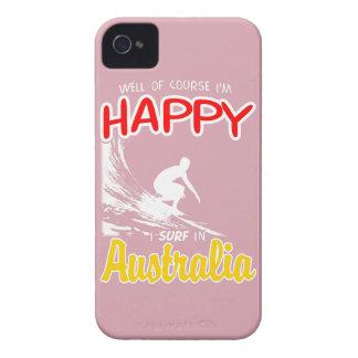 Happy Surfer AUSTRALIA (Wht) iPhone 4 Case-Mate Case