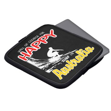 Beach Themed Happy Surfer AUSTRALIA (Wht) Laptop Sleeve
