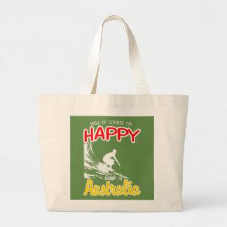Happy Surfer AUSTRALIA (Wht) Large Tote Bag