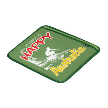 Beach Themed Happy Surfer AUSTRALIA (Wht) MacBook Sleeve