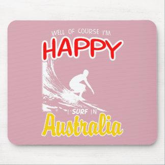 Happy Surfer AUSTRALIA (Wht) Mouse Pad