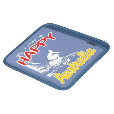 Beach Themed Happy Surfer AUSTRALIA (Wht) Sleeve For iPads