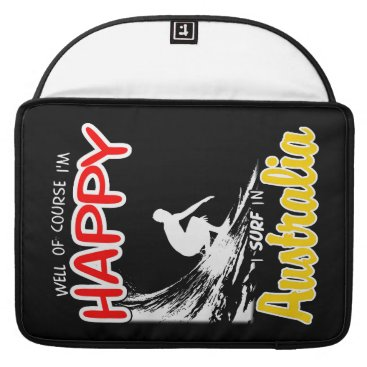 Beach Themed Happy Surfer AUSTRALIA (Wht) Sleeve For MacBooks