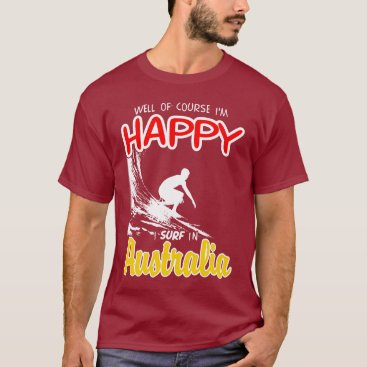 Beach Themed Happy Surfer AUSTRALIA (Wht) T-Shirt