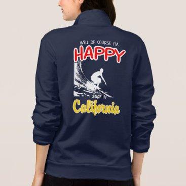 Beach Themed Happy Surfer CALIFORNIA (Wht) Jacket