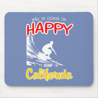 Happy Surfer CALIFORNIA (Wht) Mouse Pad