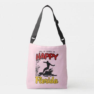 Beach Themed Happy Surfer FLORIDA (blk) Crossbody Bag