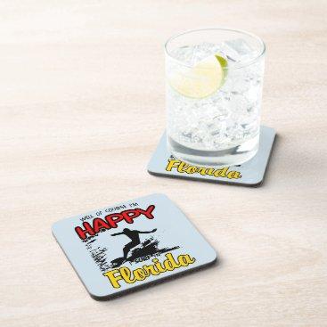 Beach Themed Happy Surfer FLORIDA (blk) Drink Coaster
