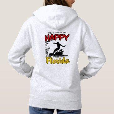 Beach Themed Happy Surfer FLORIDA (blk) Hoodie