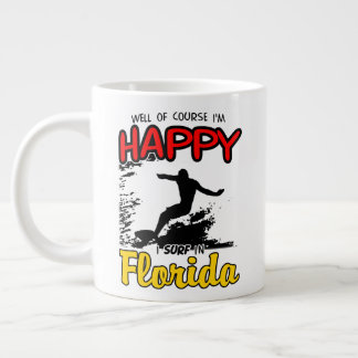 Happy Surfer FLORIDA (blk) Large Coffee Mug