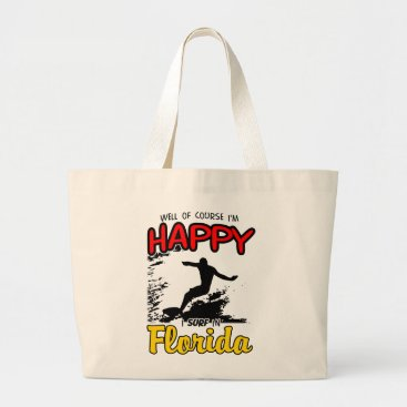 Beach Themed Happy Surfer FLORIDA (blk) Large Tote Bag