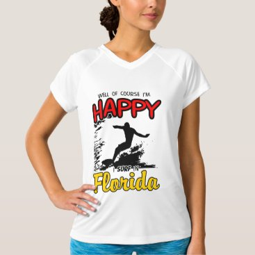 Beach Themed Happy Surfer FLORIDA (blk) T-Shirt