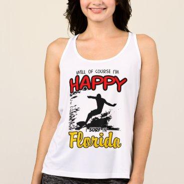 Beach Themed Happy Surfer FLORIDA (blk) Tank Top