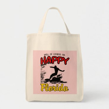 Beach Themed Happy Surfer FLORIDA (blk) Tote Bag