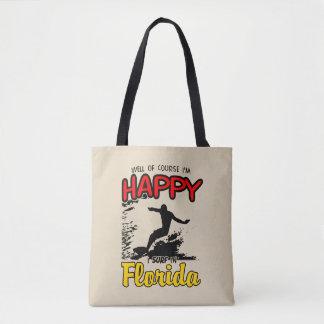 Happy Surfer FLORIDA (blk) Tote Bag