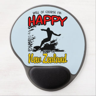 Happy Surfer NEW ZEALAND (Blk) Gel Mouse Pad