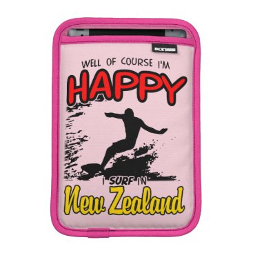 Beach Themed Happy Surfer NEW ZEALAND (Blk) iPad Mini Sleeve