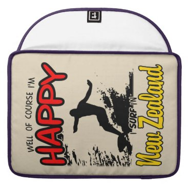 Beach Themed Happy Surfer NEW ZEALAND (Blk) Sleeve For MacBooks