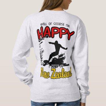 Beach Themed Happy Surfer NEW ZEALAND (Blk) Sweatshirt