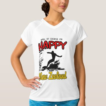 Beach Themed Happy Surfer NEW ZEALAND (Blk) T-Shirt