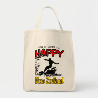 Happy Surfer NEW ZEALAND (Blk) Tote Bag
