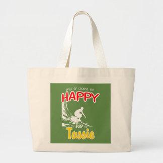 Happy Surfer TASSIE (Wht) Large Tote Bag