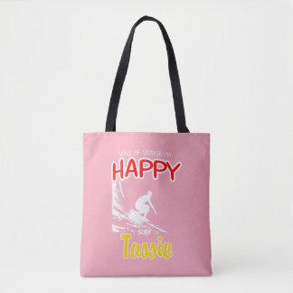 Happy Surfer TASSIE (Wht) Tote Bag