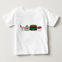 Happy Sushi Brothers rice Japanese shrimp salmon Baby T-Shirt