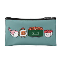 Happy Sushi Brothers rice Japanese shrimp salmon Cosmetic Bag