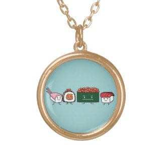 Happy Sushi Brothers Round Pendant Necklace