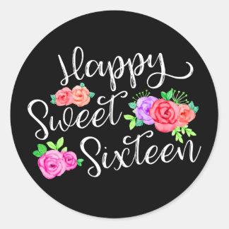 Happy Sweet 16 Birthday Girl Edgy Roses & Black Classic Round Sticker
