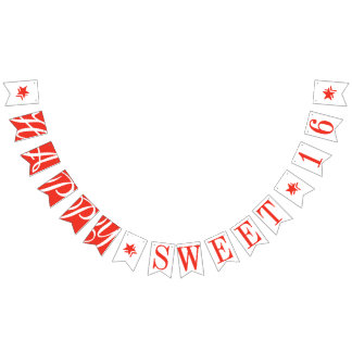 HAPPY SWEET 16 Scarlet Red Birthday Decor Bunting Flags