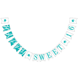 HAPPY SWEET 16 Teal Birthday Decor Bunting Flags