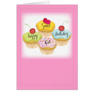Happy Sweet 16th Birthday, Pink Card for Girl