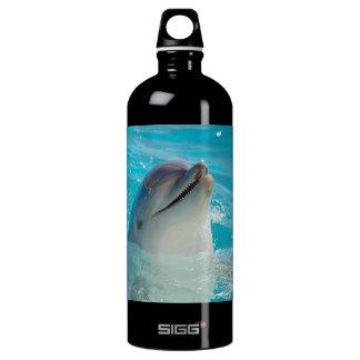 Happy Swimming Dolphin Aluminum Water Bottle
