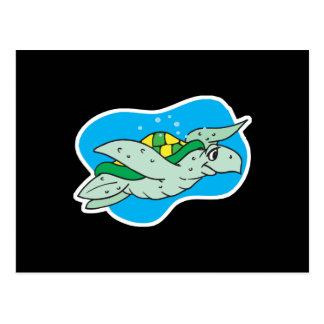 happy swimming sea turtle postcard