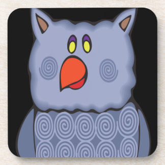 Happy Swirly Owl on Black Beverage Coaster