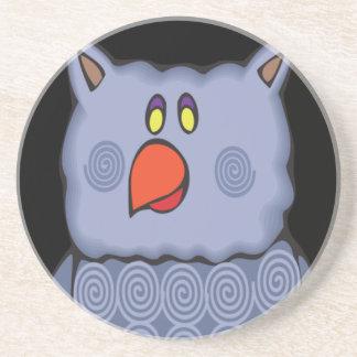 Happy Swirly Owl on Black Coaster