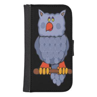 Happy Swirly Owl on Black Galaxy S4 Wallet Case