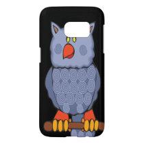 Happy Swirly Owl on Black Samsung Galaxy S7 Case