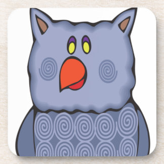 Happy Swirly Owl on White Coaster