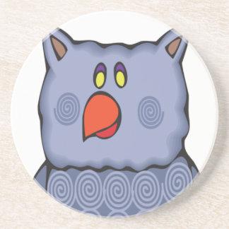 Happy Swirly Owl on White Coaster