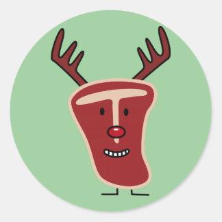 Happy T-Bone Steak Reindeer red nose Christmas Classic Round Sticker